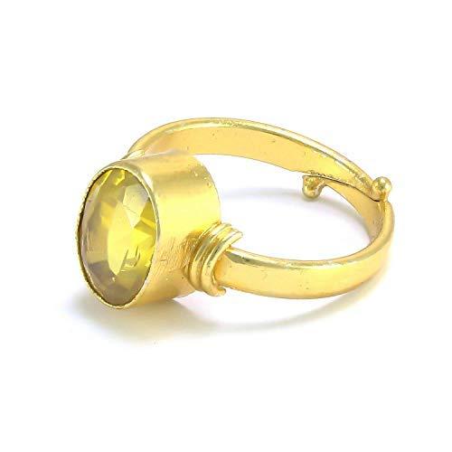 SataanReaper Presents Yellow Sapphire Pukhraj 7.25 Ratti Stone Panchdhatu Adjustable Ring Men and Women #SR031