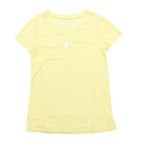 SOIMISS Camisa de malha pentagrama com decote em V Moda verão Camiseta de manga curta para meninas e mulheres (amarelo, XXXL)