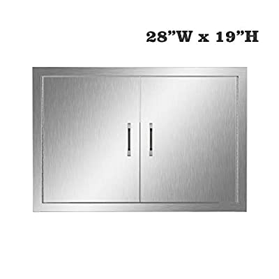 304 Stainless Steel BBQ Kitchen Island Door, Single Barbecue Grill Doors for Outdoor Cabinet, Access Wall Mount Doors (28 inches x 19 inches)