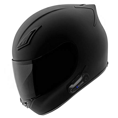 GDM Motorcycle Helmet with Intercom Bluetooth Headset - XL (Matte Black, with Clear & Tinted Shields)