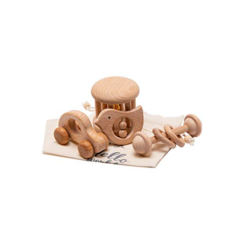 Mamimami Home 4PCS Sonajeros Bebé Montessori Juguetes Set Traqueteo Madera Anillas Madera Juguetes Enfermería Madera de Sonajeros Bebé