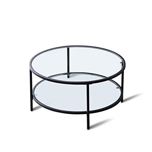 æ— Couchtisch mit 2 Ebenen, rund, für Wohnzimmer, Glas, Sofa, Bett, Beistelltisch, Stauraum mit Ablage, Couchtisch, Beine mit gehärteten Glasoberflächen (transparent)