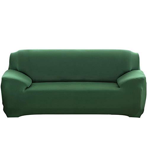 Fundas de cojín de 2 piezas para 1/2/3/4 plazas Funda de sofá elástica jacquard de color sólido3 fundas de cojín de asiento individuales Protector de muebles, B verde oscuro, 2 plazas 145-172cm