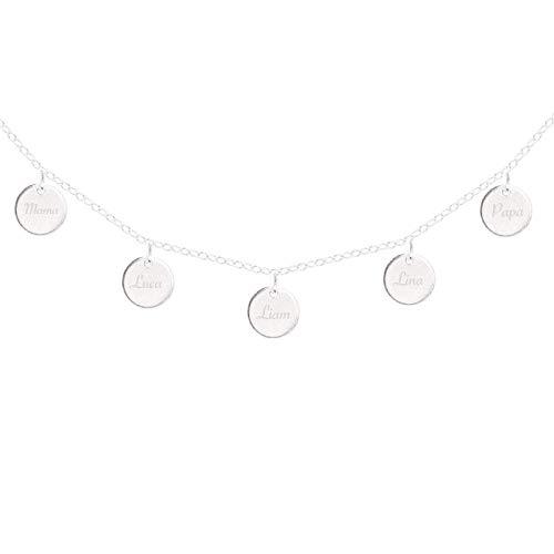 Familienkette mit Gravur | 925 Sterling Silber | Mutter Tochter Schmuck | Namenskette | Personalisierter Schmuck | Geschenke für Frauen