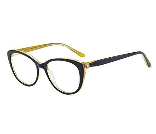 HD Lesebrille, anti-blaues Licht Erleichterung Müdigkeit Gläser, Damenmode große Kiste bequem alte Lese Spiegel (Color : Yellow blue, Size : 1.5X)