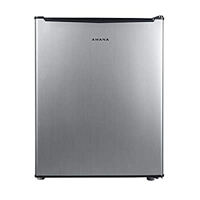 AMANA AMAR27S1E Compact Refrigerator, Single Door Fridge Adjustable Mechanical Thermostat with Chiller, 2 Coated Wire Slide-Out Shelf, 2.7 Cu.Ft, Stainless Steel Look