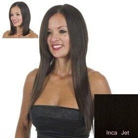 Extensions Cheveux Clips Noirs Raides   45cm de longeur   Lot de 10 Clips Pièces pour une tête plein
