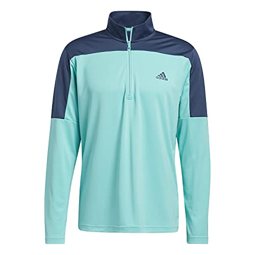 adidas Golf Mens 2021 1/4 Zip UPF ligero pecho izquierdo logo elástico suéter