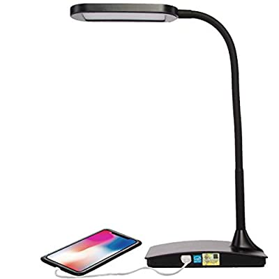 TW Lighting IVY-40WT The Ivy LED Desk Lamp with USB Port, 3-Way Touch Switch, Black v2
