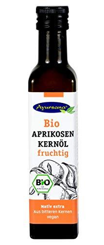 Bio Aprikosenkernöl (250 ml)   Hochwertiges Speiseöl, fruchtig im Geschmack mit leichter Marzipannote   Geeignet auch zur Haut- und Haarpflege   Apothekenqualität aus deutscher Herstellung
