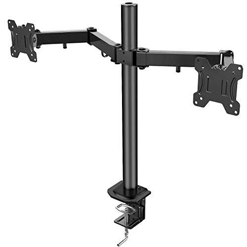HUANUO Soporte 2 Monitores, Totalmente Ajustable para Dos Pantallas LCD LED de Tamaño Desde 13 a 27 Pulgadas, 2 Opciones de Montaje, VESA 75/100
