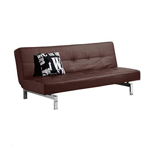 Adec - Chic, Sofá Cama Sistema Clic clac, Sofa tapizado Polipiel Patas cromadas, Acabado Color Chocolate, Medidas: 180 x 85/105 cm