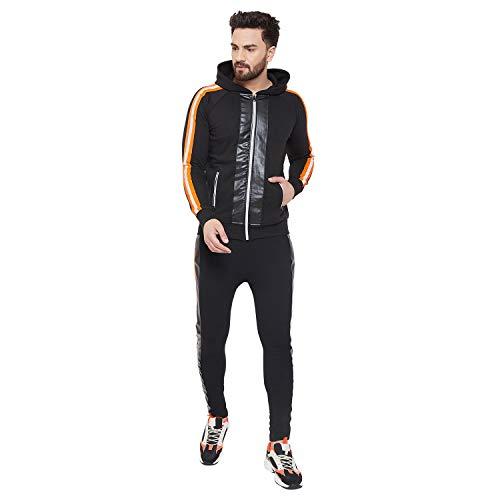 FUGAZEE Men'sAll Black Neon Orange Reflective Sweatshirt and Sweatpants Combo Jogsuit