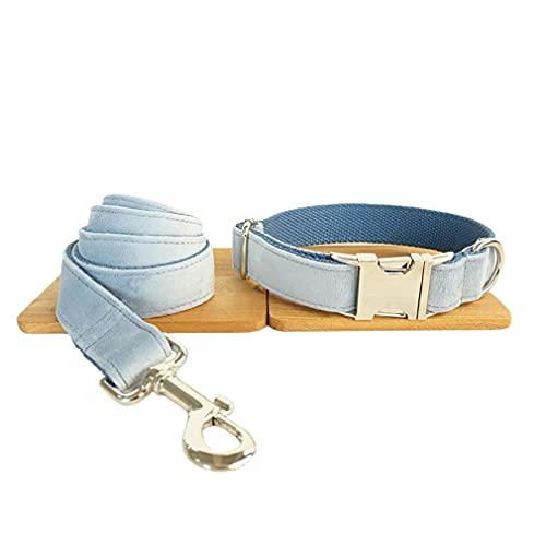 Haowen Conjunto de Collar con Correa para Perro Traje de Terciopelo Grueso con cordón para Mascotas Súper Suave y Duradero Azul M