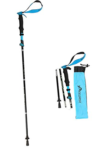 Folding Trekking Pole, Lightweight 7075 Aluminum, Quakeproof Collapsible Hiking Poles with Quick Locks, Terrain Accessories & Carrying Bag (Blue)