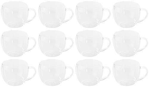Novaliv 12 vasos de té de doble pared, 250 ml, vidrio de borosilicato, aptos para lavavajillas y microondas, vasos térmicos