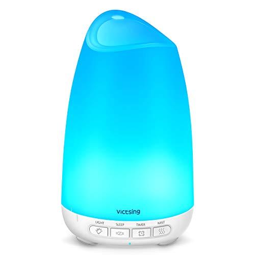 VicTsing Diffuseur d'Huile Essentielle 150Ml Mini Diffuseur Ultrasonique Aroma avec Mode de Sommeil Unique, Conception de Réduction du Bruit, Lumière de 8 Couleurs, Blanc