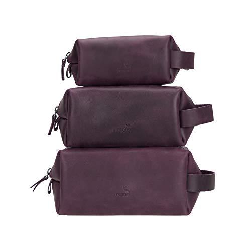 Renna Leather Handmade - Borsa per toilette personalizzata, con doppio kit per trucchi, organizer da viaggio, regalo personalizzato per lui e per lei