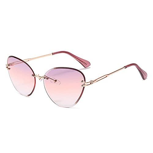 HAIGAFEW Gafas De Sol De Ojo De Gato para Mujer Gafas De Sol De Color Degradado Gafas De Sol Triangulares Sin Montura para Mujer Gafas con Montura Metálica Uv400 Proteger Los Ojos-Gradiente Morado
