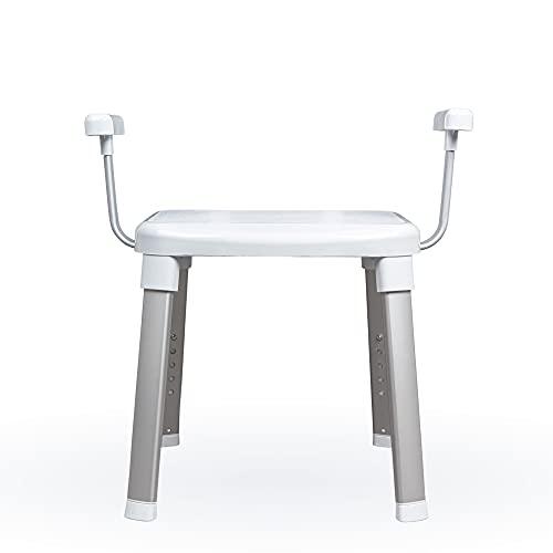 Weinberger Dusch- und Badestuhl/mit Armlehnen/Perfekt fürs Badezimmer/Senioren/Rutschfest und stabil/Bad/Farbe: Weiß/Modell: 43981