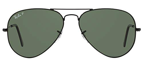 Ray-Ban RB3025, Gafas de Sol Unisex Adulto, Negro (frame: Black, lenses: Crystal green, polarized 002/58), X-Large