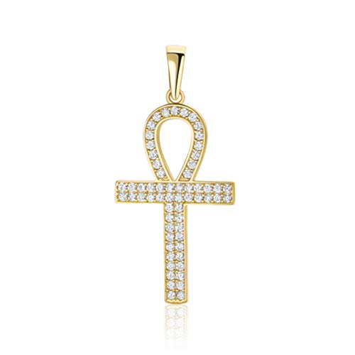Colgante de cruz egipcia de oro amarillo 585 de 14 quilates, con circonitas