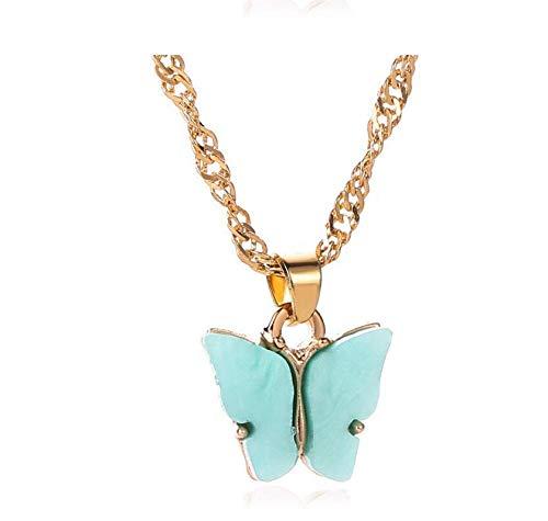 Moda coreana multicolor hoja de acrílico mariposa pequeño fresco insecto dulce animal pendiente collar set-collar azul