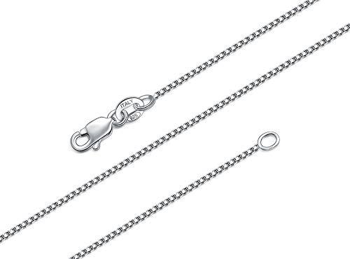 BORUO Collar de cadena de plata esterlina 925, 1 mm, 1.5 mm, italiano, macizo, sin níquel, cierre de mosquetón, 35.5 a 76.2 cm Plateado