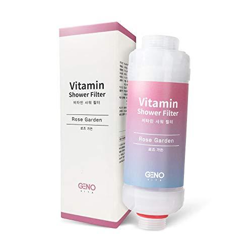 Vitamin C Shower Filter 1-Pack for Detachable Shower Head that Rejuvenates Skin and Hair, Shower Filter that Removes Chlorine & Fluoride, 3 Scents (Rose Garden, Lemon Piquant, Lavender Sprout) Random