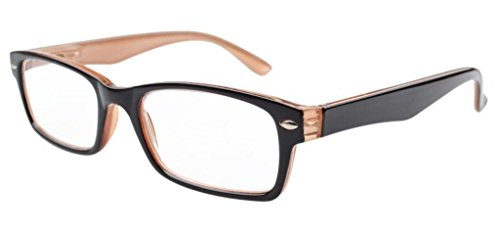 Kunststoff Fassung Lesebrille mit Federscharniere in Schwarz-Braun mit Brillenetui +1.00
