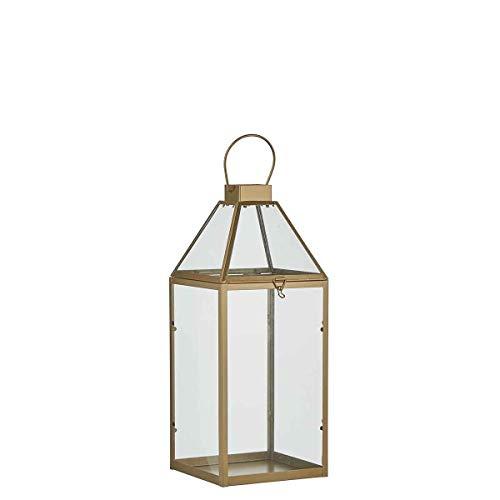 Mica lantaarn, metaal, goudkleurig, 17,5 x 15,5 x 37 cm