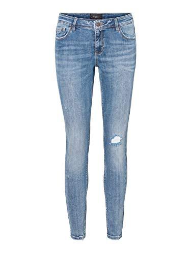VERO MODA Damen Vmlydia Lr Skinny Destr Li320 Ga Noos Jeans, Medium Blue Denim, S EU