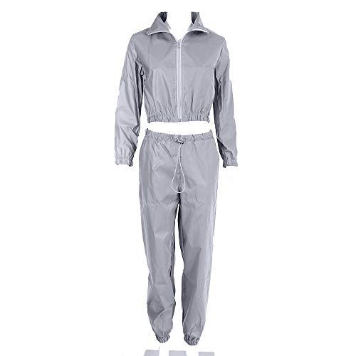 Jxth Reflektierende Clubwear-Jacke für Damen Frauen Sport Freizeit Hip Hop Tops und Hosen Anzüge Shine at Night Hip-Hop-Tanzoutfits (Farbe : Silber, Größe : M)