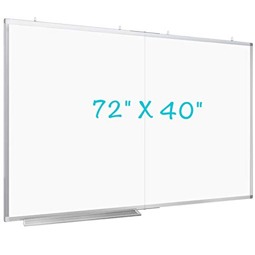 Large Magnetic Whiteboard, maxtek 72 x 40 inches Magnetic Dry Erase Board Foldable with Marker Tray 1 Eraser 3 Markers and 6 Magnets| Wall-Mounted Aluminum Memo White Board for Office Home and School