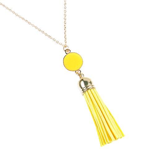 COMVIP Womens Long Tassels Pendant Bohemian Chain Sweater Necklace Yellow