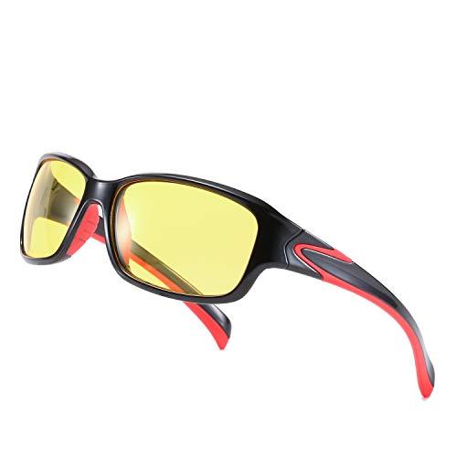 TosGad Polarisierte Nachtsichtbrille für Männer, reduziert Blendung und verbessert die Sicht bei Regen, Nebel und Nebel. Gr. M, Schwarz-grüner Rahmen und gelbe Gläser. (BlackRed, Yellow)