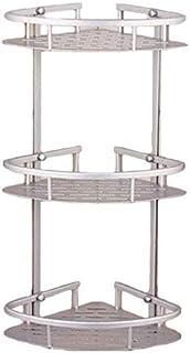 McMoLa Bathroom Corner Shelf Aluminum 3 tiers Shower Storage Corner Shelves with Hooks Kitchen Corner Sticky Shelves