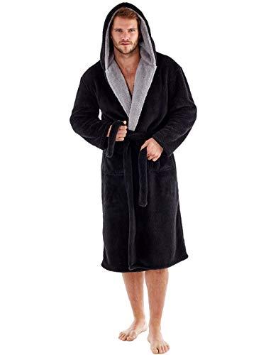 Harvey – Bata de forro polar suave con capucha y forro de contraste de 260g/m² para hombre negro negro L