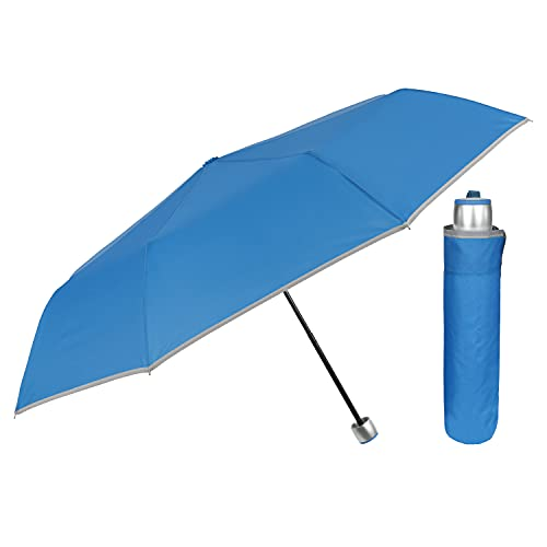 Paraguas Plegable Mujer Hombre Antiviento - Paraguas Mujer Resistente al Viento - Paraguas Mini Compacto Ligero de Bolso - Sombrilla Lluvia Portátil Detalles Reflectantes Diámetro 98 cm (Turquesa)