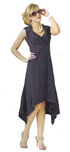 Dzhavael Couture Button Tab Shoulder Dress (Black, Large)