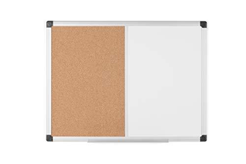 Bi-Office Maya - Pizarra Mixta Magnética y Corcho, Marco de Aluminio, 60 x 45 cm