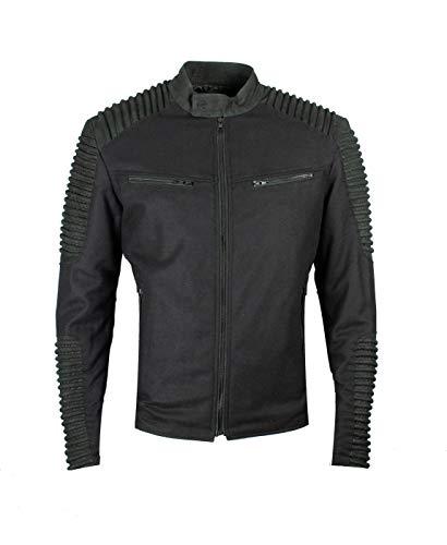 Be Edgy Bemartin - Giacca da motociclista, in pelle, colore nero, slim fit, con cuciture rinforzate Nero XXL