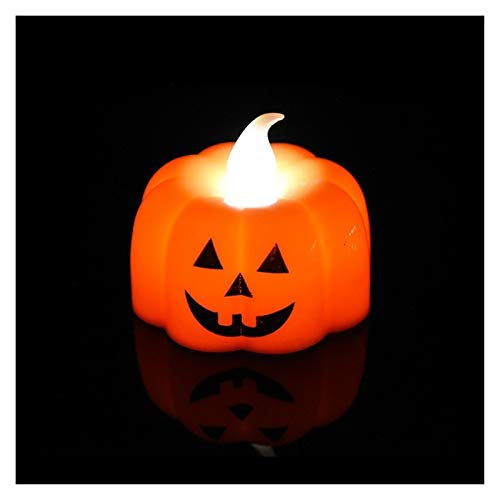 1 Pc Small Pumpkin Night Light Halloween Decoration Props Flashing Flameless Candle Light Family Holiday Party Bar Decoration Holiday Decorated Garland (Color : N01)