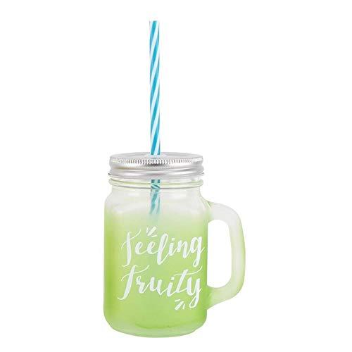 Aloha Bocal de boire en verre avec poignée et paille 'Sensation fruitée' Vert