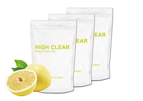 HIGH CLEAR さっぱりグレープフルーツ風味 WPCホエイプロテイン100 1kg×3個セット(約120食分)