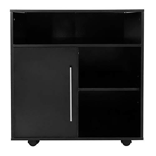 Alvinlite Soporte para Impresora con estantes Ajustables de Almacenamiento, Carro móvil con Puerta, archivador rodante con Ruedas para Oficina en casa, Negro