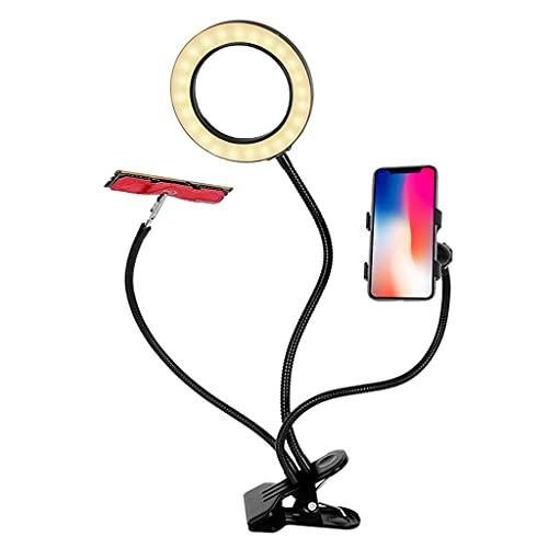 LEXIANG Lámpara de Aumento de Lente de Vidrio óptico Lámpara de Cuello de Cisne de Metal 3 Modos de Color, Aumento de 10X, Lente de Vidrio de 4.3'de diámetro para Lectura y Manualidades