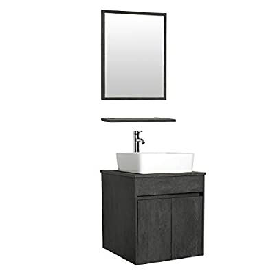 """eclife 24"""" Bathroom Vanity Sink Combo Wall Mounted Concrete Grey Cabinet Vanity Set White Ceramic Vessel Sink Top, W/Chrome Faucet, Pop Up Drain & Mirror (T03E03CC)"""
