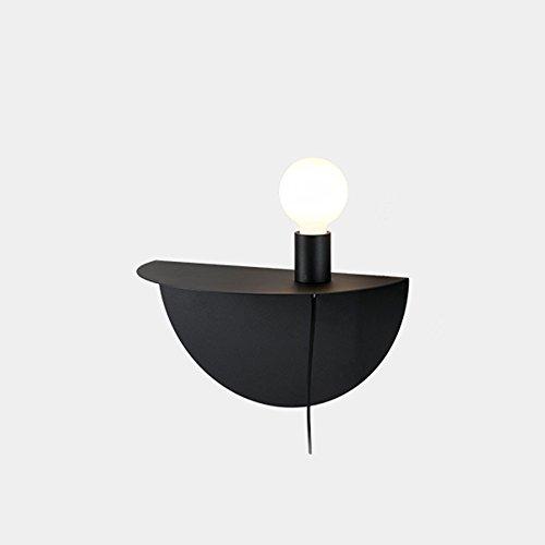 Appliques murales en fer à la mode, Applique murale minimaliste moderne LED pour enfants Nordic Living Room Allée Table murale (Color : Black)