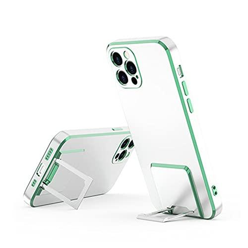 QC-EMART - Funda de silicona para iPhone 11 Pro, soporte de metal, a prueba de golpes, transparente, protección trasera para iPhone 11 Pro, color verde cobre
